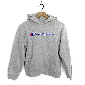 Champion Gray Spellout 2000s Hoodie Sweatshirt